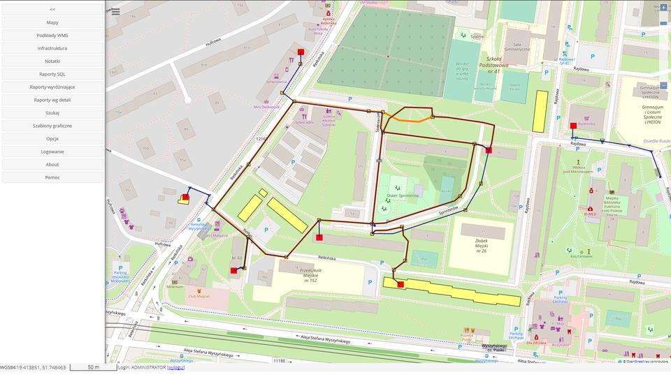 Widok mapy w przeglądarce WWW module webowym fastGIS.
